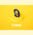 think isometric icon isolated on color background vector image