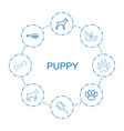 8 puppy icons vector image vector image