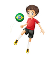 A boy using the ball with the flag of Brazil vector image vector image