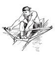 a man rowing boat vintage vector image vector image