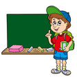 advising school boy with blackboard vector image