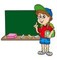 advising school boy with blackboard vector image vector image