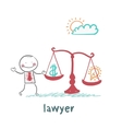 attorney weighs in the balance money and the idea vector image vector image