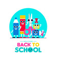 back to school fun art supplies friends design vector image vector image