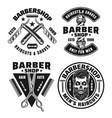 barbershop set four emblems or badges vector image vector image