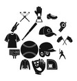 baseball icons set simple style vector image vector image