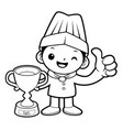 black and white cartoon chef mascot awarded in vector image