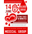 blood donation poster world donor day card vector image