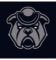bulldog in hat mascot icon vector image