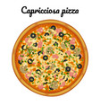 capricciosa pizza with ham olives and mushrooms vector image vector image