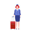 cartoon stewardess with suitcase female air vector image