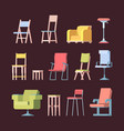 chairs collection front view elegant furniture vector image vector image