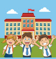 cheerful student school building back yard vector image vector image