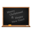 christmas greetings written on the blackboard vector image