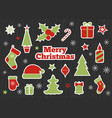 christmas stickers fashion patches set vector image vector image