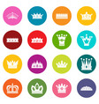 crown icons many colors set vector image vector image