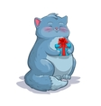 Cute cartoon fat grey cat with gift box vector image