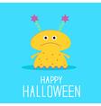 Cute cartoon yellow monster girl Halloween card vector image vector image