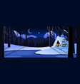 cute winter tranquil snowy night landscape scene vector image