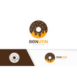 donut logo combination doughnut and cake vector image