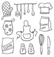 doodle of kitchen set style collection vector image vector image