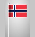 flag of norway national flag on flagpole vector image