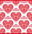 folk heart seamless pattern scandinavian vector image vector image