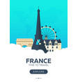france time to travel travel poster flat vector image vector image