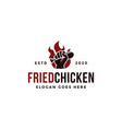 hand holding hot fried chicken logo icon template vector image