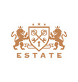 heraldry lion key estate logo vector image