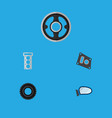 icon flat component set of tire mirror wing vector image vector image