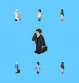 isometric human set of doctor girl investor and vector image vector image