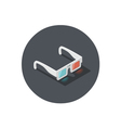 Isometric of white 3d glasses stereo cinema icon vector image
