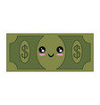 kawaii money bill icon vector image