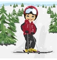 Little boy skiing in the ski resort vector image