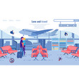 love and travel couple kissing at airport banner vector image vector image