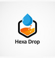 modern hexagon drop logo concept icon element and vector image