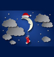 moon in cap of santa claus and a sock in the night vector image vector image
