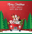 origami paper art santa claus and friend in vector image vector image