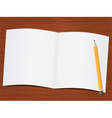 paper on wooden desk vector image vector image