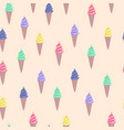 pattern with colorful cute cartoon ice cream vector image vector image