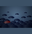 red umbrella standing out of crowd individuality vector image