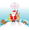 Santa Claus And Reindeer In Town vector image vector image