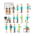 science people flat icon set vector image vector image
