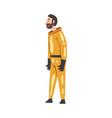 scientist in orange protective suit working in vector image vector image