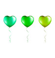 set green heart shaped foil balloons on vector image vector image