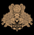 set hand drawn unique deer surreal moth vector image