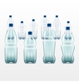set of blank plastic blue water bottles vector image