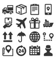 shipping and delivery icons set on white vector image vector image