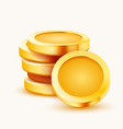 stack golden coins isolated on white background vector image vector image